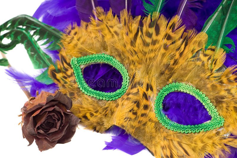 Mardi Gras Mask. A mardi gras mask with a dried red rose, isolated against a white background royalty free stock photo