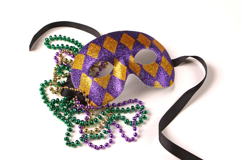 Mardi Gras Mask and Beads stock image