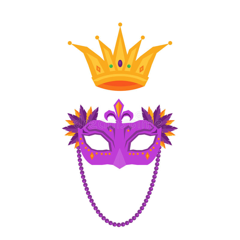 Mardi Gras. Mask and Crown Isolated Illustrations vector illustration