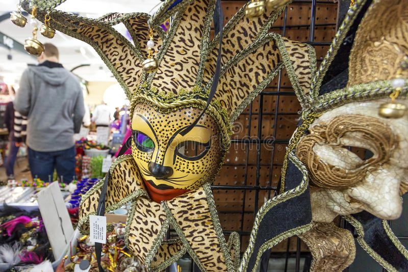 Mardi Gras Mask in New Orleans, Louisiana. NEW ORLEANS, LA, USA - APR 16, 2016: Mardi Gras mask for sale at the French Market in New Orleans. Louisiana, United stock photography