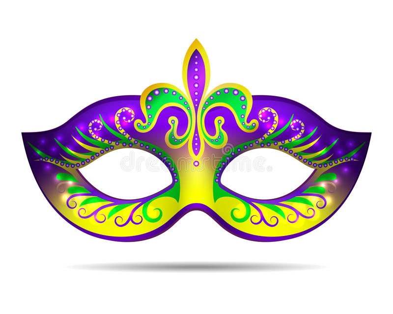 Mardi Gras mask. On white. Vector illustration
