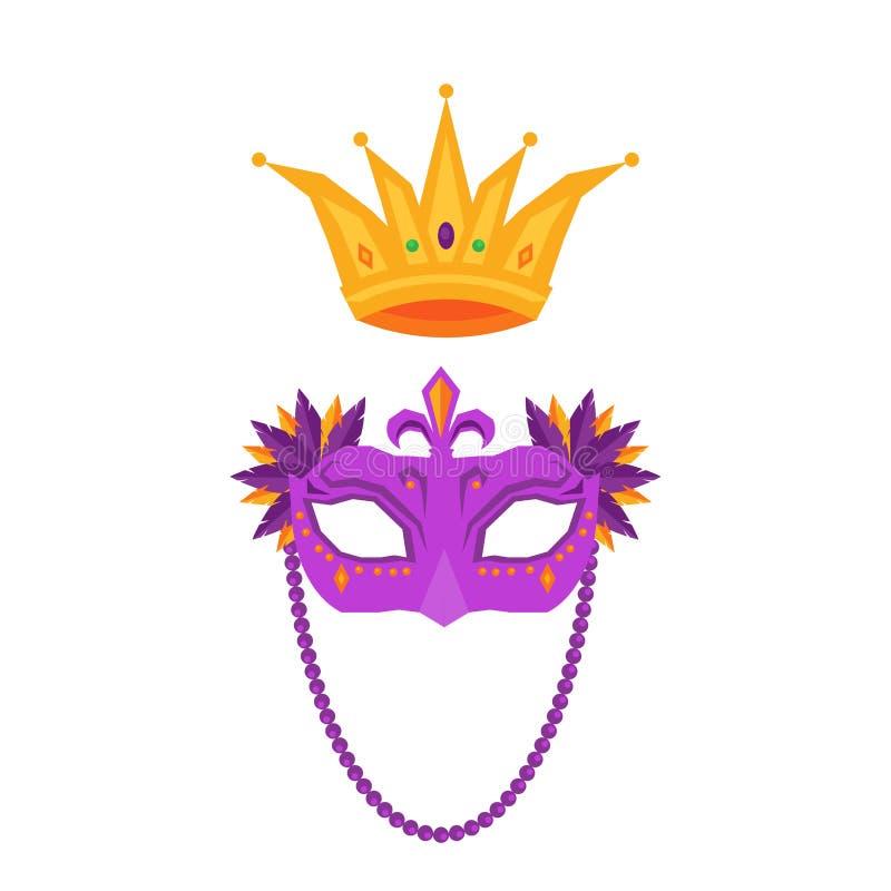 Mardi Gras Maske und Krone lokalisierte Illustrationen vektor abbildung