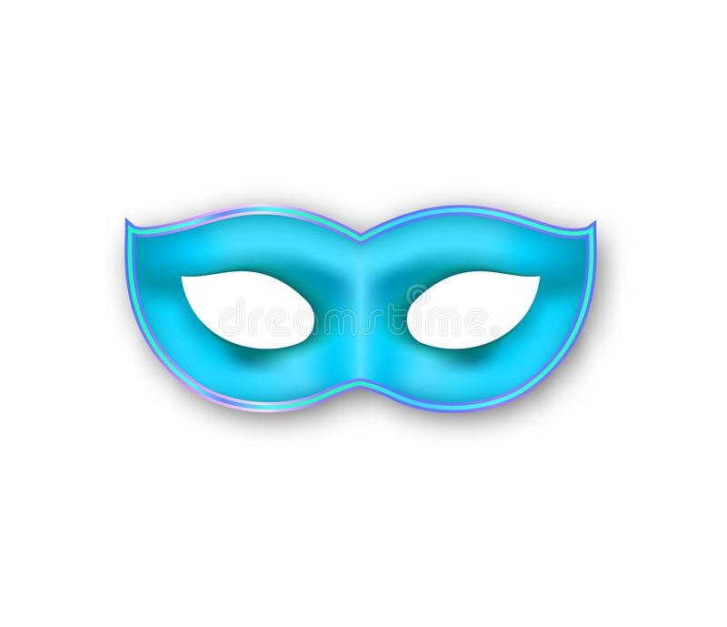 Mardi Gras-masker blauwe kleur Authentiek Venetiaans Carnaval-Gezichtsmasker geïsoleerde decoratie van de maskerade de realistisc vector illustratie