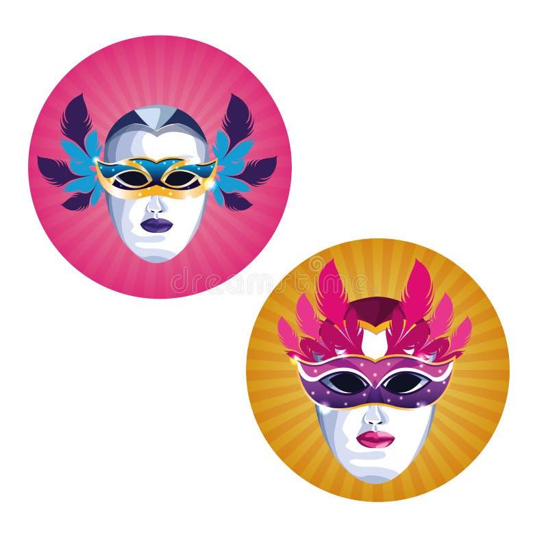 Mardi Gras Masks ilustração do vetor