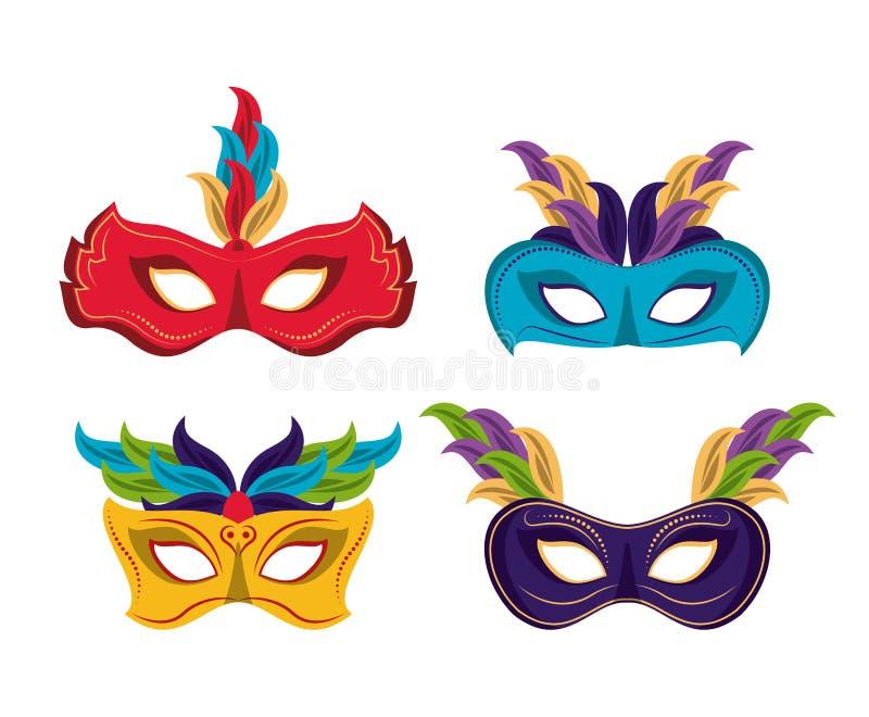 Mardi gras masks icons vector illustration