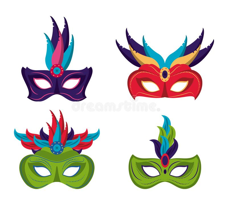 Mardi gras masks icons royalty free illustration