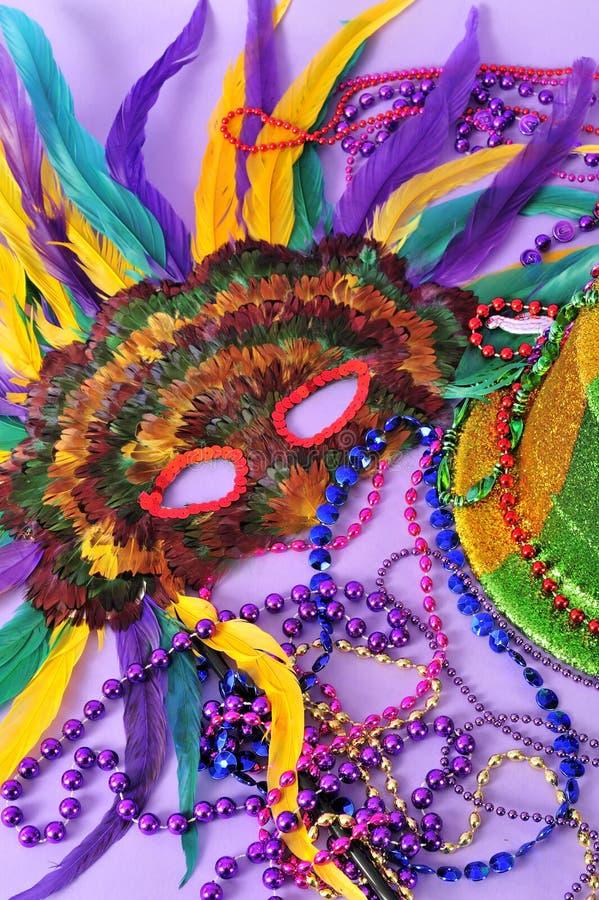 Mardi Gras messo le piume a maschera i branelli del cappello del partito fotografia stock libera da diritti