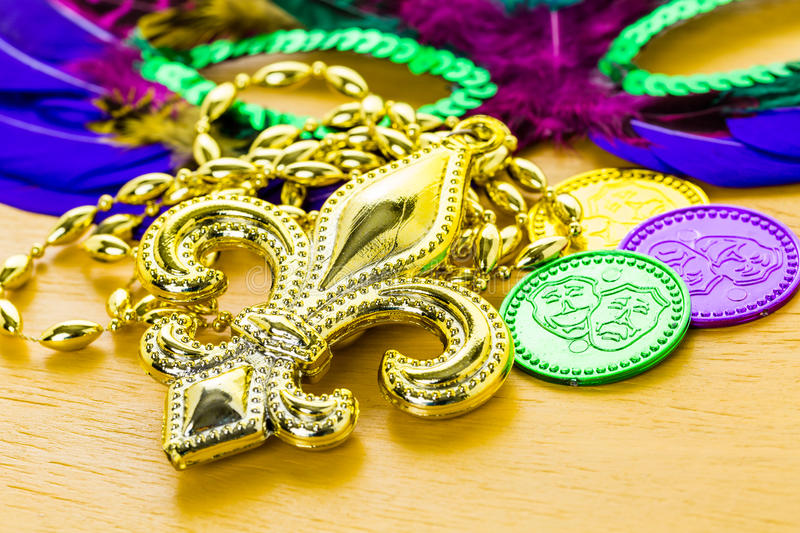 Mardi Gras. Multicolored decorations for Mardi Gras party on the table stock photo