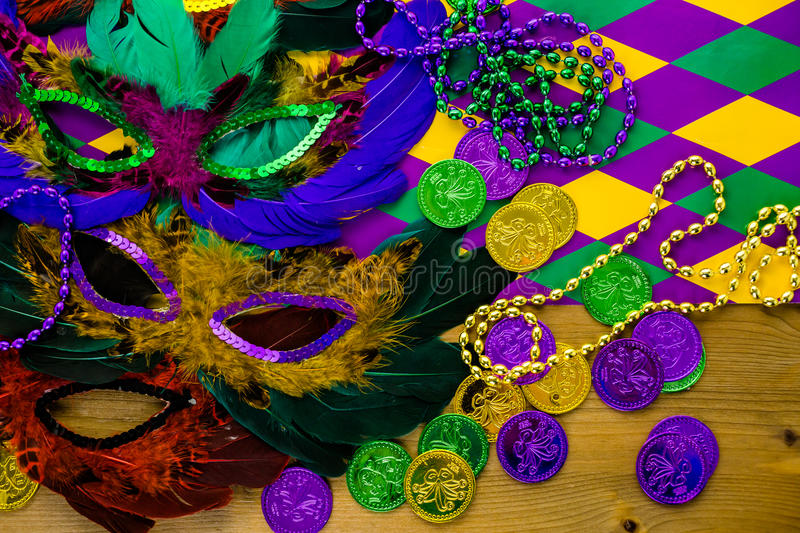 Mardi Gras. Multicolored decorations for Mardi Gras party on the table royalty free stock photo