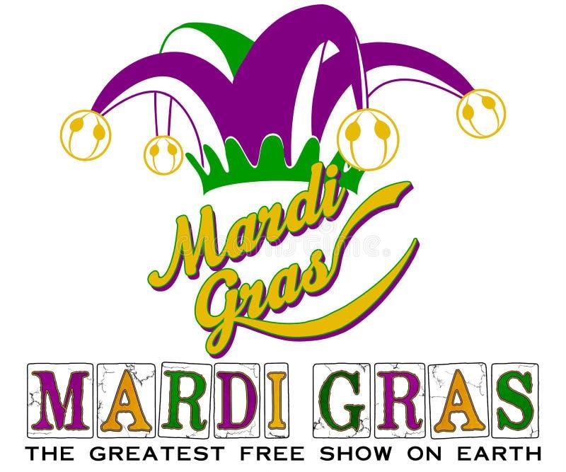 Mardi Gras New Orleans Jester-Hut lizenzfreie abbildung
