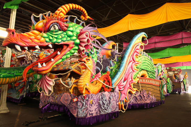 Mardi Gras Parade Float. Image of Mardi Gras parade float dragon in New Orleans royalty free stock image
