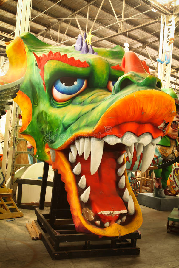 Mardi Gras Parade Float. Image of Mardi Gras parade float dragon in New Orleans stock photo