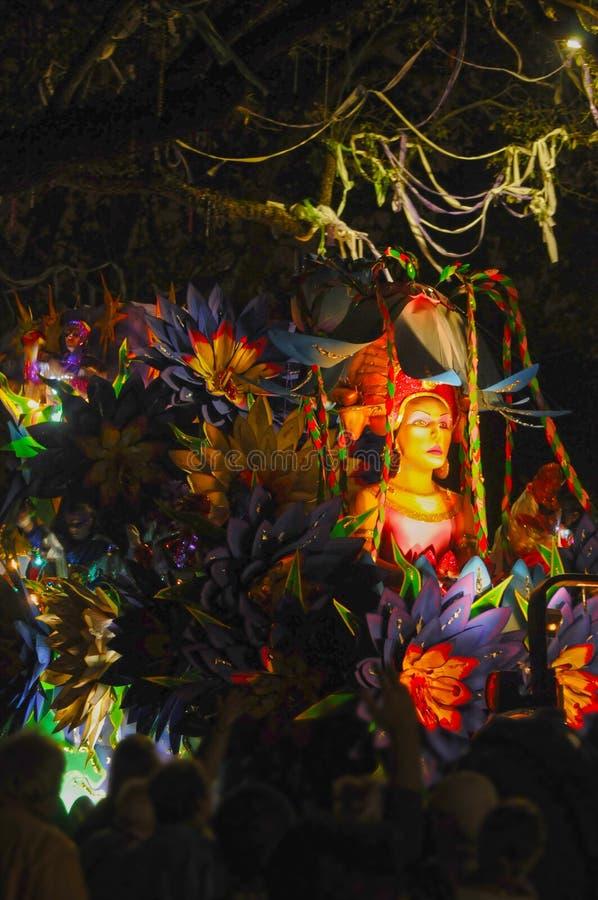 Mardi Gras parade float. Nighttime parade on St. Charles Street in New Orleans, Louisiana during Mardi Gras stock photos