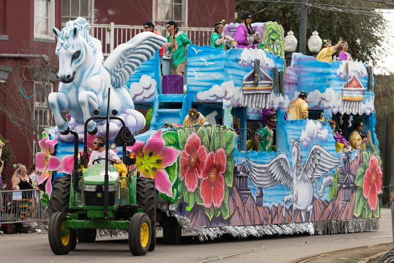 Mardi Gras Parade New Orleans. New Orleans, Louisiana, USA - February 23, 2019: Mardi Gras Parade, Float with a Pegasus sculpture, at the mardi gras parade stock image