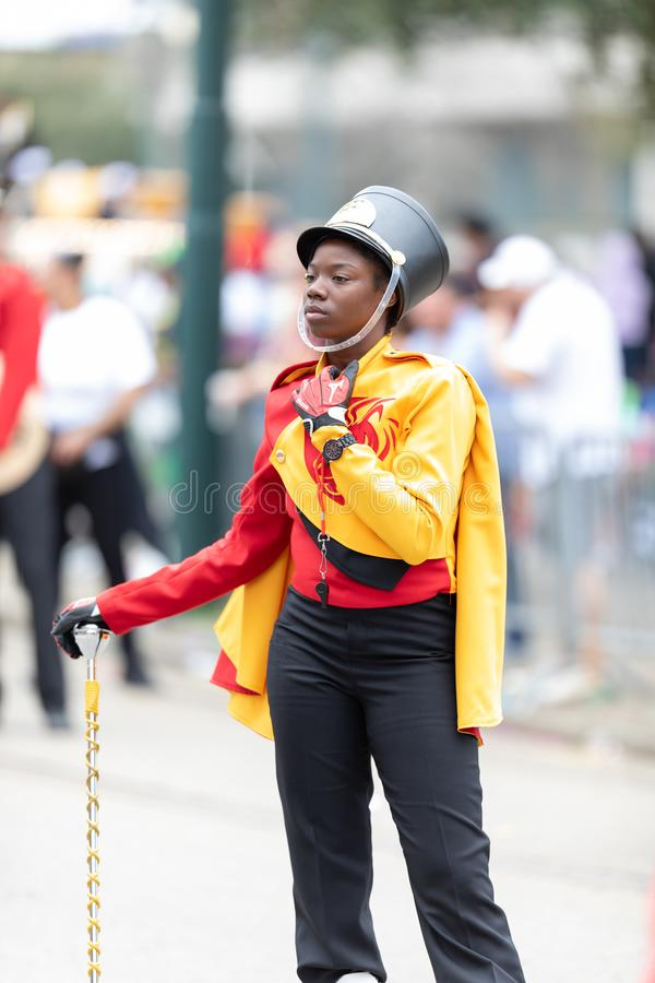Mardi Gras Parade New Orleans. New Orleans, Louisiana, USA - February 23, 2019: Mardi Gras Parade, A member of the Paul Habans Charter School the Marching Lions royalty free stock photos
