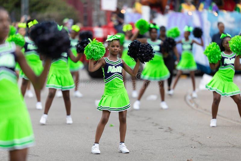 Mardi Gras Parade New Orleans. New Orleans, Louisiana, USA - February 23, 2019: Mardi Gras Parade, Members of Akili Academy performing at the parade royalty free stock photography