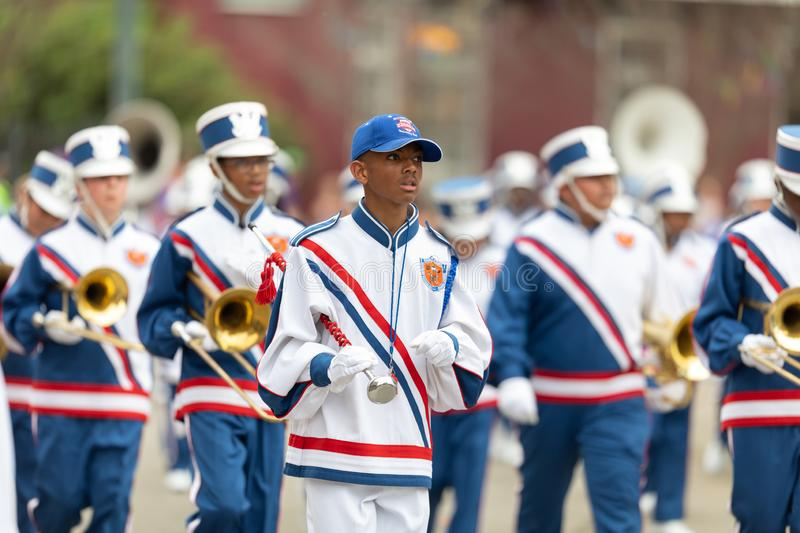 Mardi Gras Parade New Orleans. New Orleans, Louisiana, USA - February 23, 2019: Mardi Gras Parade, The Roosevelt Middle School Rough Riders Marching band stock photos