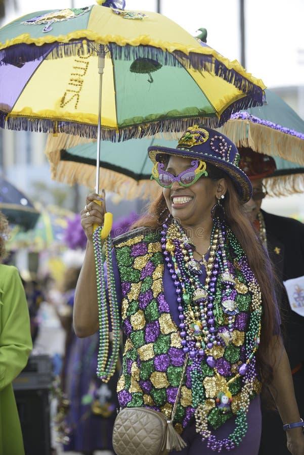 Mardi Gras parade. Participant in Mardi Gras parade, Long Beach CA stock photo