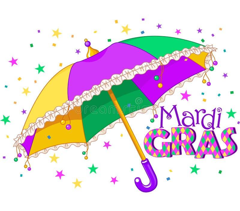 Mardi Gras paraply stock illustrationer