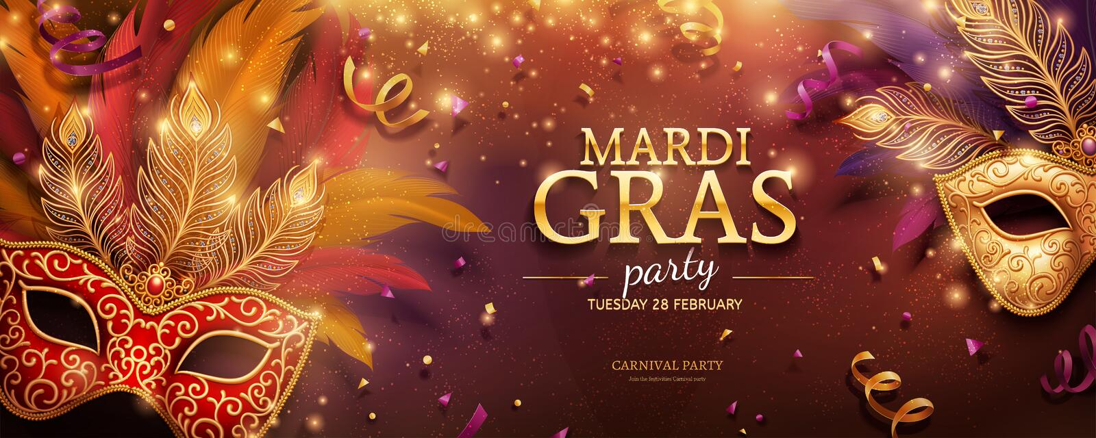 Mardi Gras party banner stock illustration