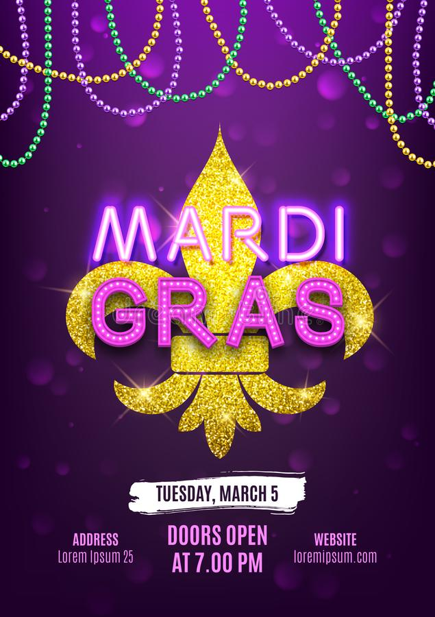 Mardi Gras party carnival banner, decorative beads and shiny gold symbol, vector illustration vector illustration