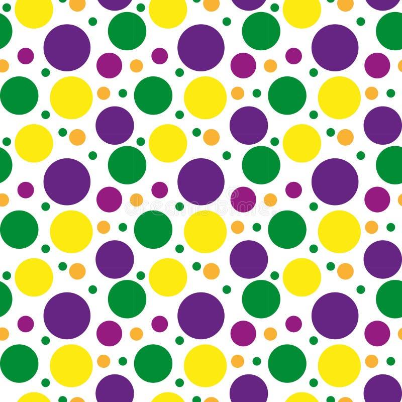 Mardi Gras polka dots pattern, repeating texture. Endless background, wallpaper, backdrop. Vector illustration. stock illustration