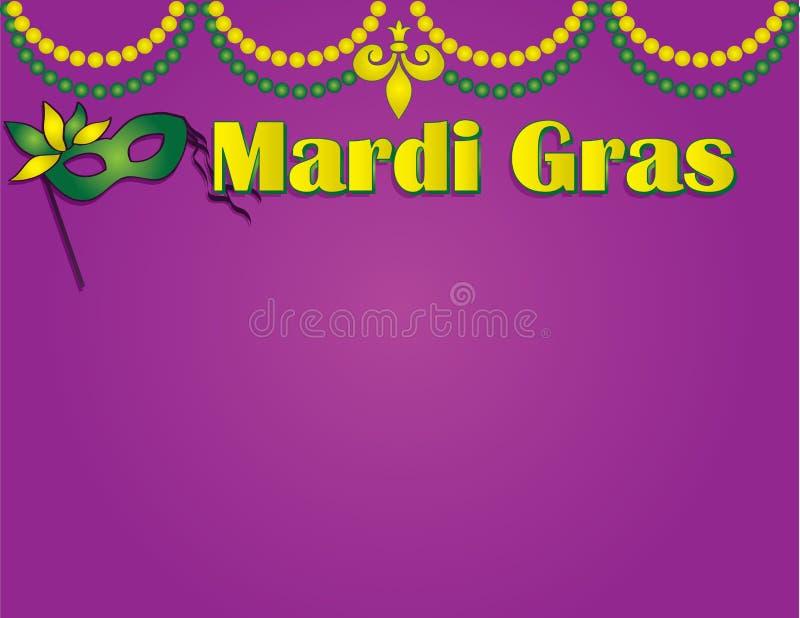Mardi Gras Poster Template com grânulos e máscara ilustração do vetor
