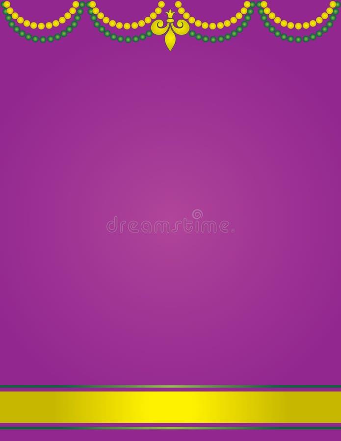 Mardi Gras Poster Template com o fundo roxo decorado com grânulos ilustração stock