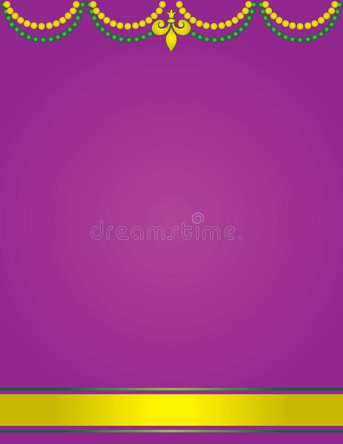 Mardi Gras Poster Template mit dem purpurroten Hintergrund geschmückt mit Perlen stock abbildung