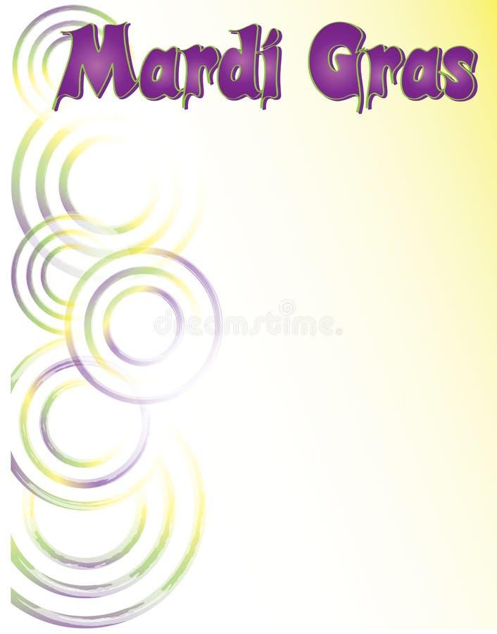 Mardi Gras Poster Template mit Purpur, Gold und Grün-Strudeln vektor abbildung