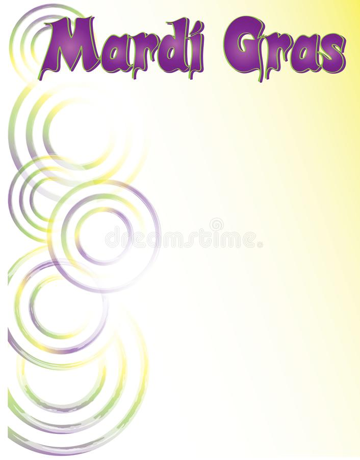 Mardi Gras Poster Template with Purple, Gold, and Green Swirls. Poster, invitation, flyer vector illustration