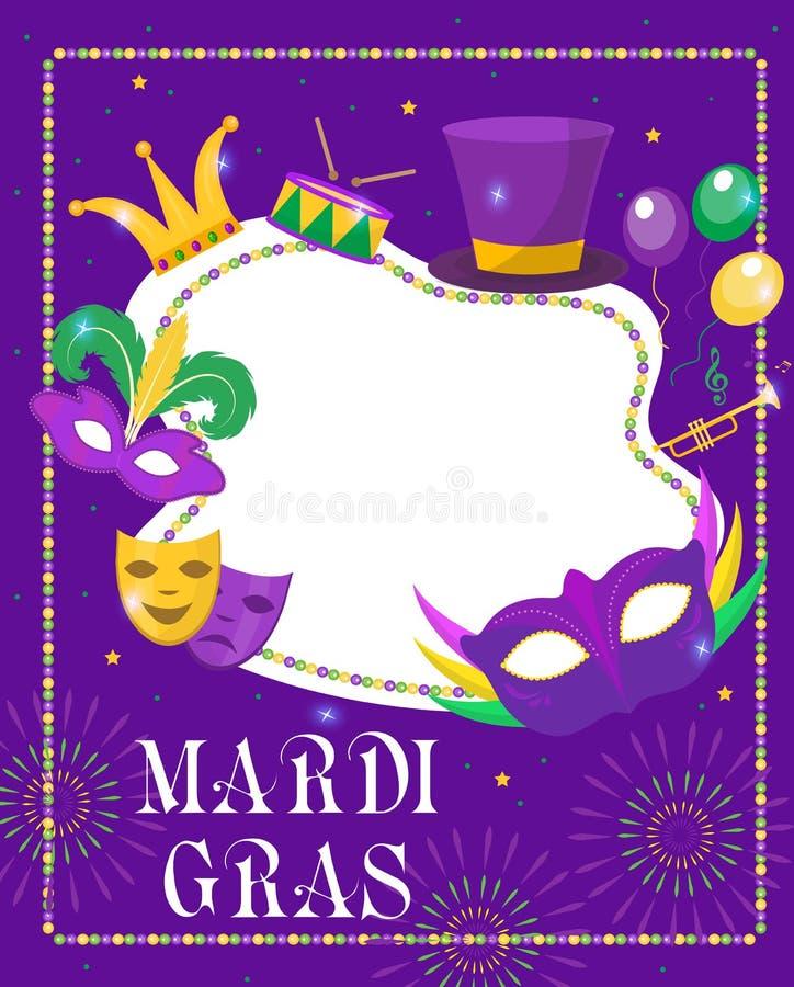 Mardi Gras-rammall med utrymme för text Mardi Gras Carnival-affisch, flygare, inbjudan Parti, parad bakgrund fotografering för bildbyråer