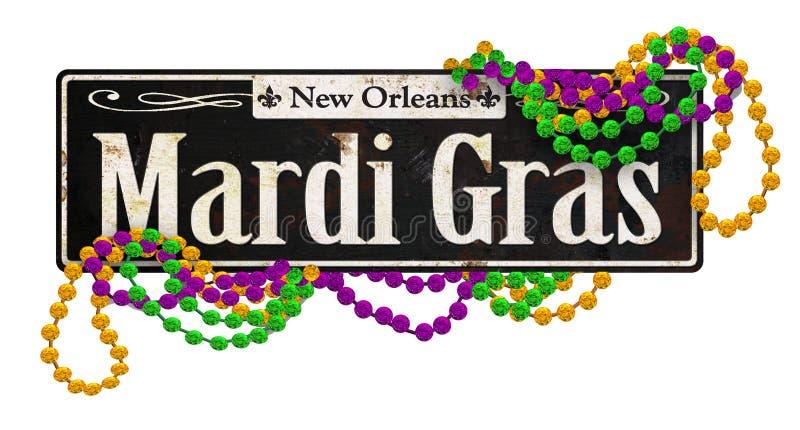 Mardi Gras Rustic Vintage Street firma retro foto de archivo libre de regalías