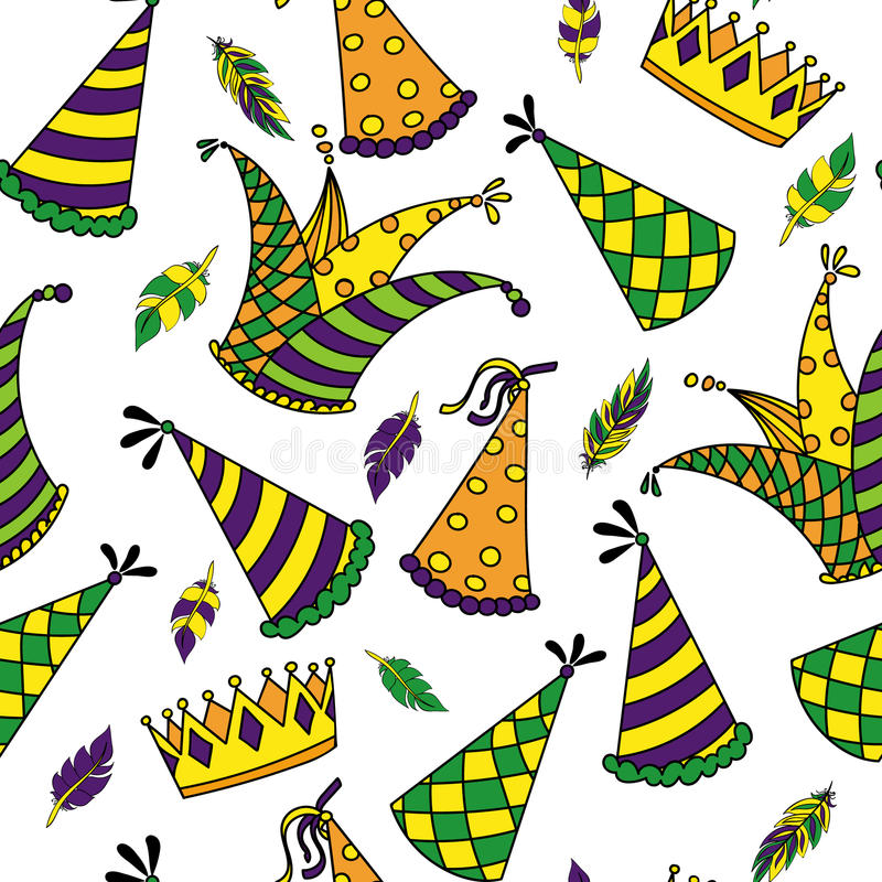 Mardi Gras seamless pattern. Colorful background with carnival hats and jester s hat, crowns, feathers and ribbons. Vector illustration royalty free illustration