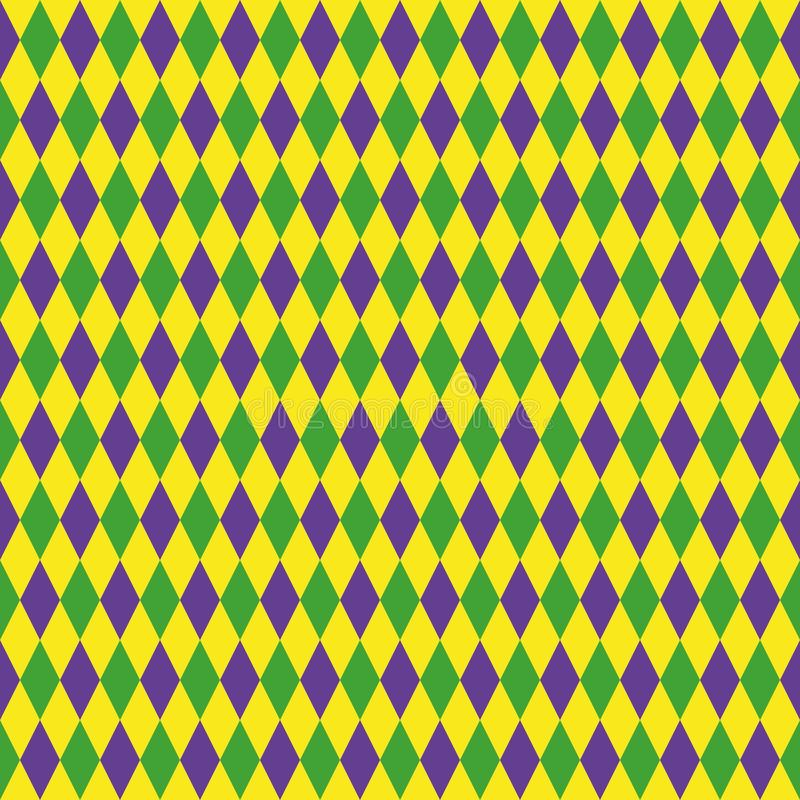 Mardi Gras seamless pattern with green, purple and yellow diamond. Abstract geometric background. fat Tuesday vector illustration