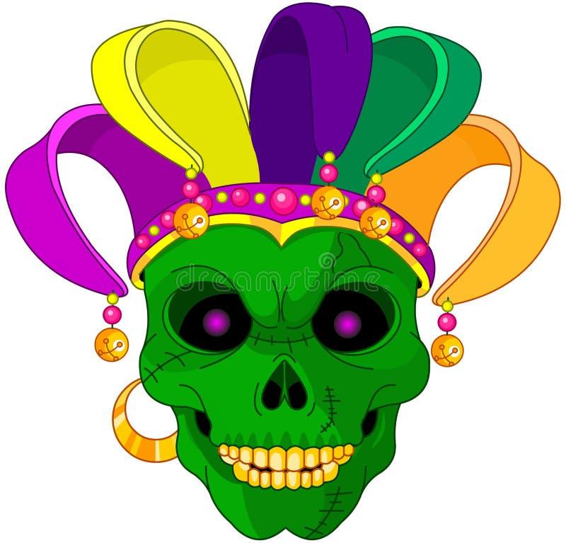 Mardi Gras skalle royaltyfri illustrationer