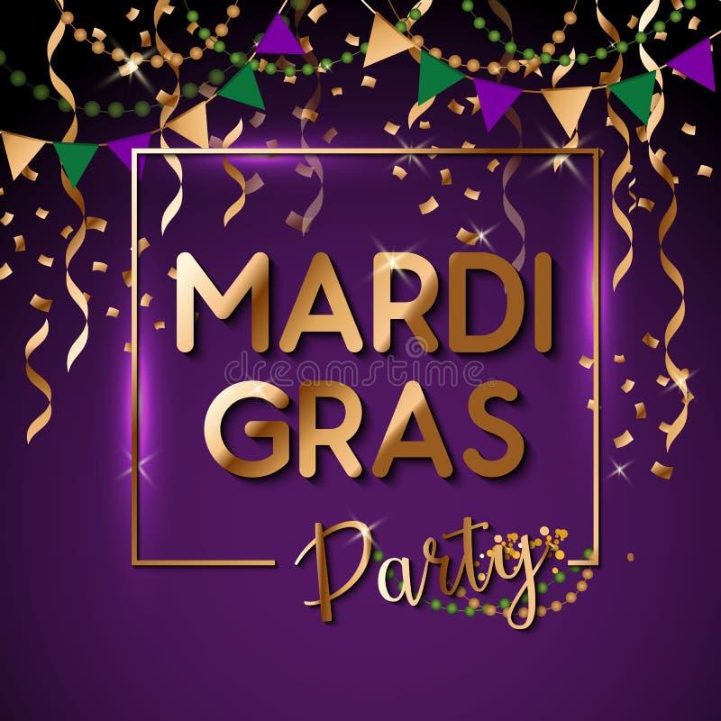 Mardi Gras som guld blänker text med, mousserar Fransk liljaliljasymbol för maskeradkarneval Amerikan New Orleans feta tisdag vektor illustrationer