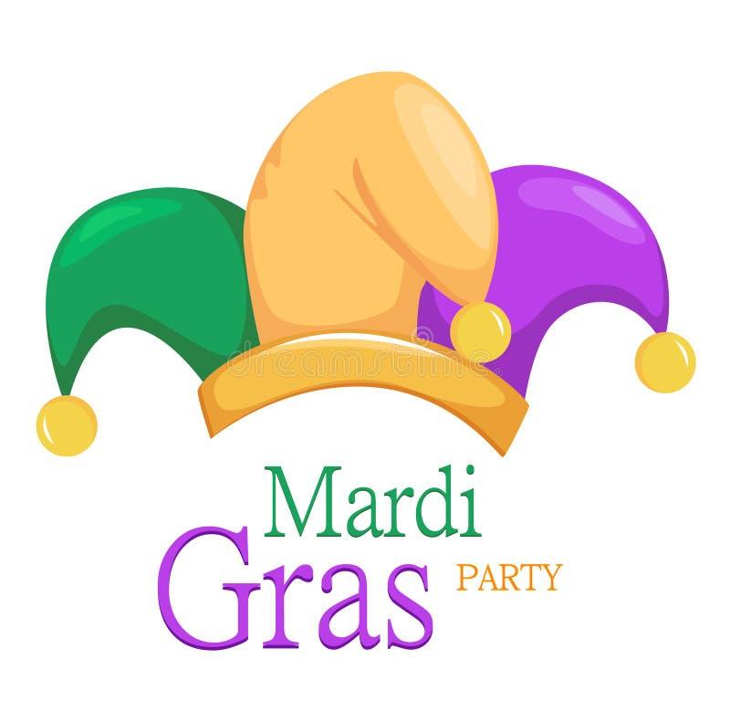 Mardi Gras-Spaßvogelhut auf weißem Hintergrund stock abbildung