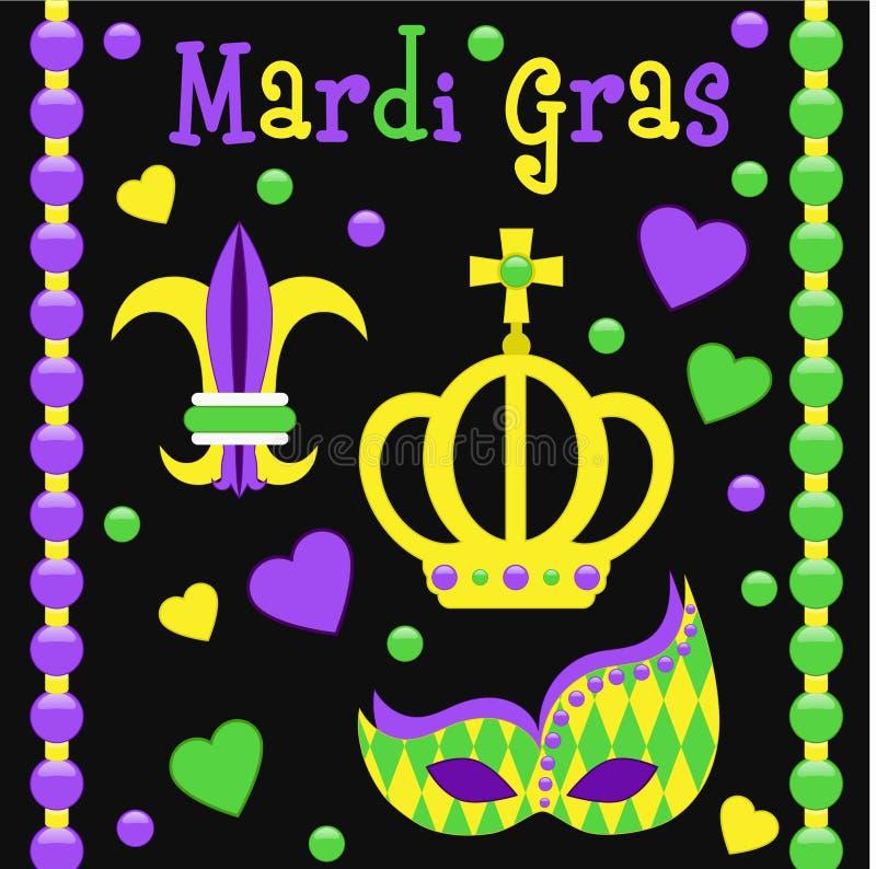 Mardi Gras-Symbolvektorsatz vektor abbildung