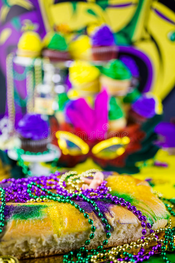 Mardi Gras. Table decorated for Mardi Gras party stock photos