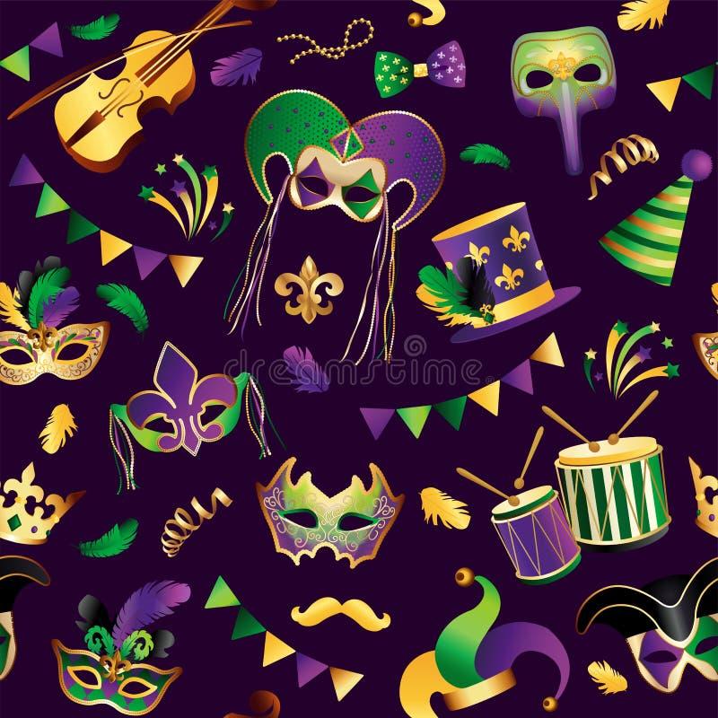 Mardi Gras Teste padrão sem emenda Molde com máscaras douradas do carnaval no fundo Celebração de brilho festiva Vetor ilustração do vetor