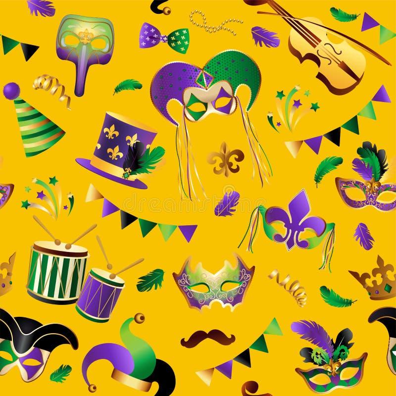 Mardi Gras Teste padrão sem emenda Molde com máscaras douradas do carnaval no fundo Celebração de brilho festiva Vetor ilustração stock