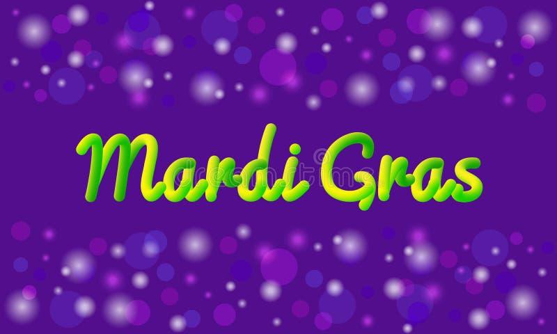 Mardi Gras-Themavektorfahne oder Grußkarte Text des Effektes 3D Traditionelle violette, grüne, gelbe Karnevalsfarben stock abbildung