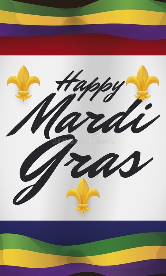 Mardi Gras- und New- Orleansflaggen, die zum Karneval, Vektor-Illustration einladen vektor abbildung