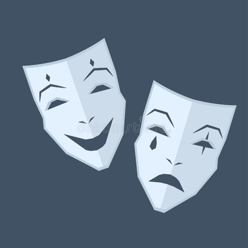 Mardi Gras Zwei Masken mit verschiedenen Gefühlen stock abbildung