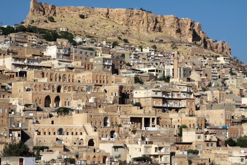 The Mardin Castle with Mardin houses. stock photo