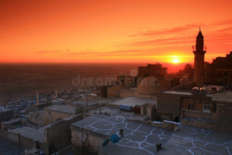 Mardin ; Mésopotamie et coucher du soleil photos stock
