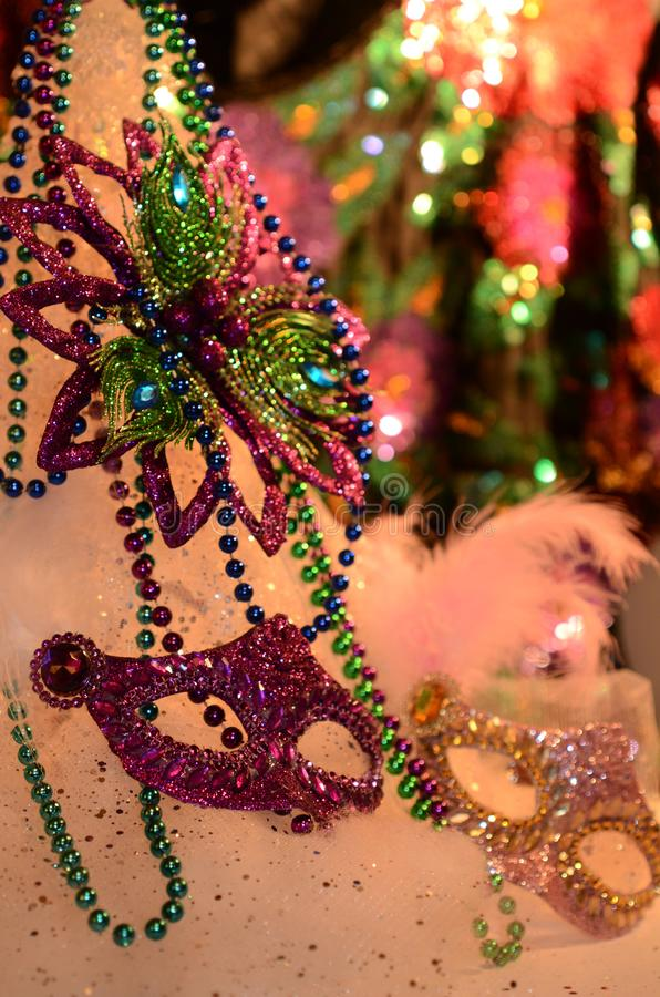 Mardi Gras celebration ready for parade. Celebrating and party table with festive atmosphere image with copyspace. Mardi Gras, or Fat Tuesday, refers to events royalty free stock images