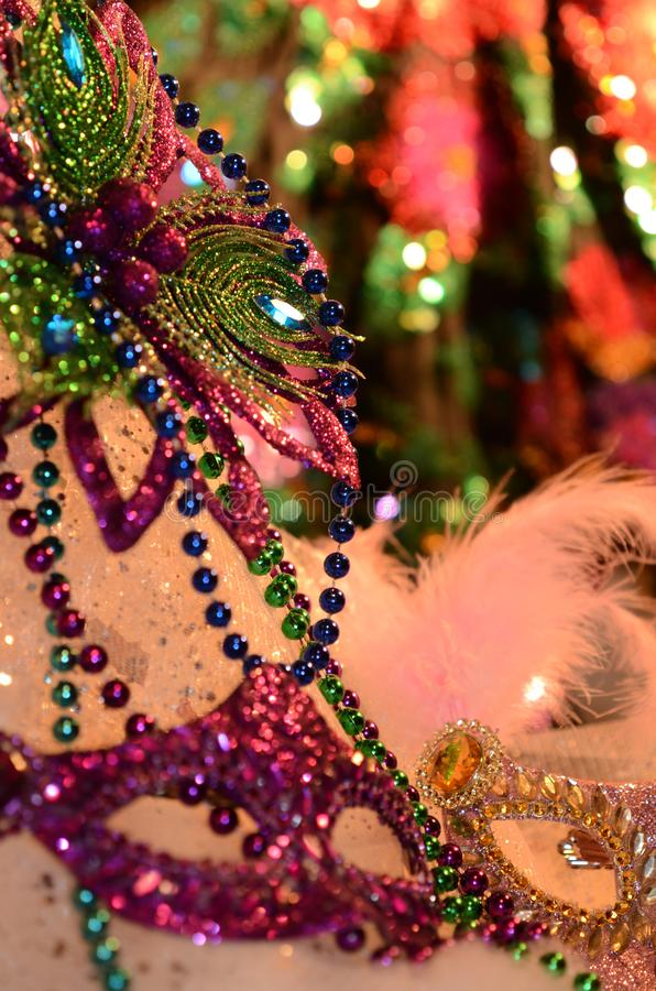 Mardi Gras events of the Carnival celebration. Celebrating and party table with festive atmosphere image with copyspace. Mardi Gras, or Fat Tuesday, refers to royalty free stock image