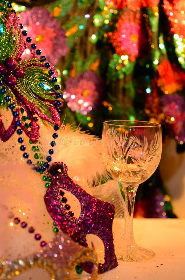 Mardi Gras 2019 holiday is March 5. Celebrating and party table with festive atmosphere image with copyspace. Mardi Gras, or Fat Tuesday, refers to events of the royalty free stock photography